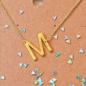 "Jewelry - Letter ""M"" Gold Initial Dainty Necklace"